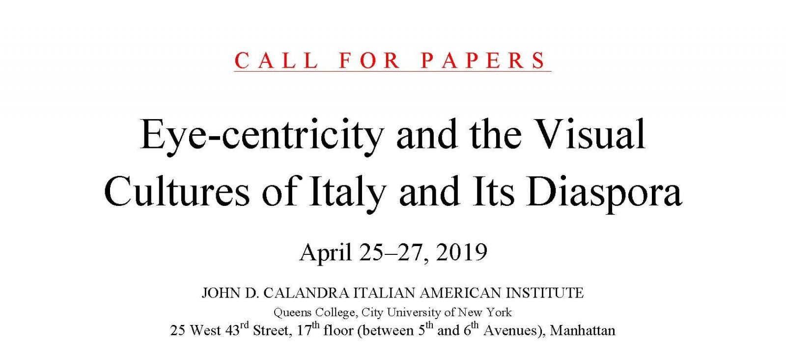 Call for Papers: Calandra International Conference 2019