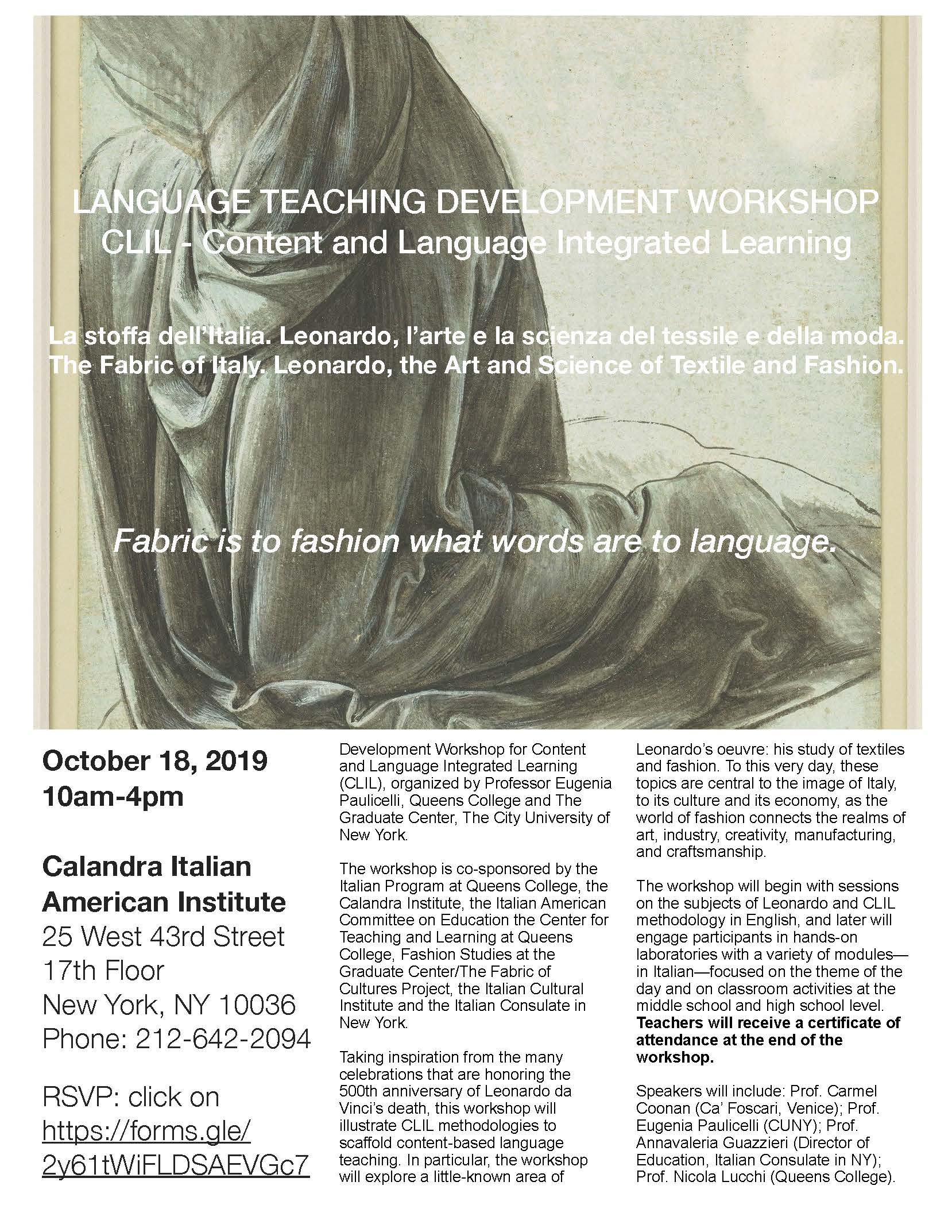 Language Teaching Development Workshop – Calandra Italian